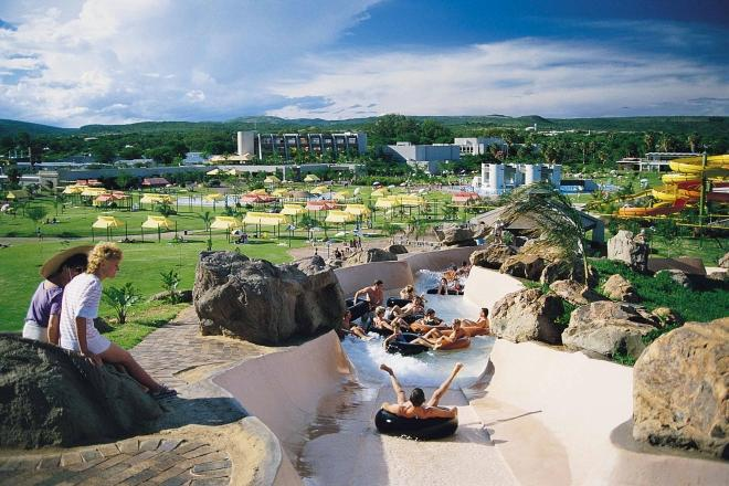 The Forever resort as seen from the top of the tube slide